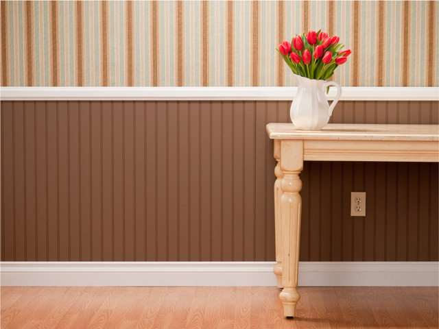 classy wainscotting installed on wall